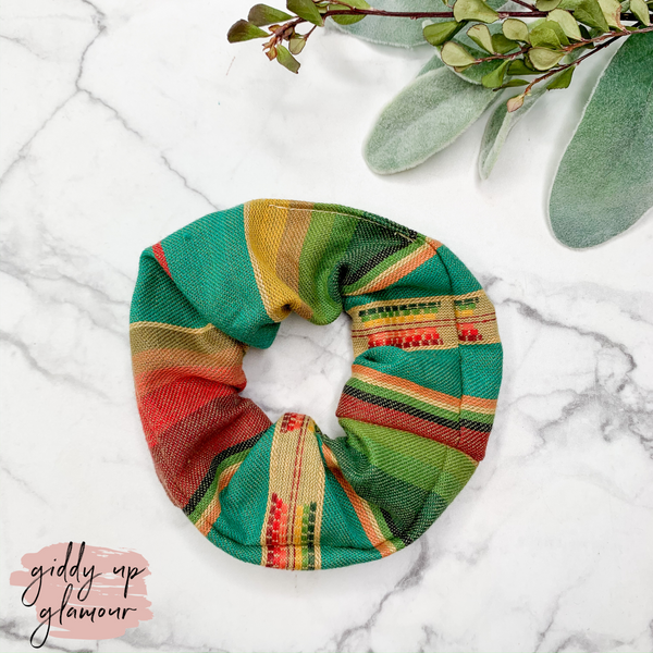 Handmade in Texas | Lago Serape Scrunchie in Teal Green