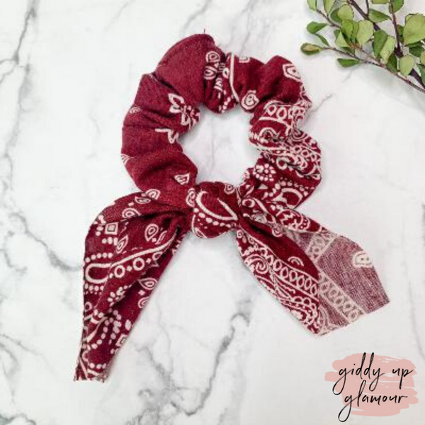Bandanna Babe Hair Scrunchie with Tie in Maroon