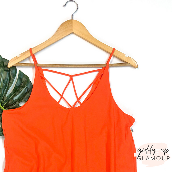 Spaghetti Strap Dress with Strappy Detailing in Orange