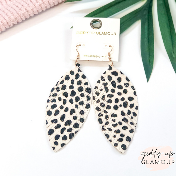 Faux Hair on Hide Feather Cut Earrings in Snow Leopard