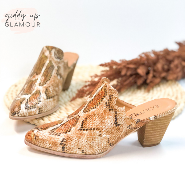 Corky's | Go the Distance Heeled Slide In Mules in Tan Snakeskin