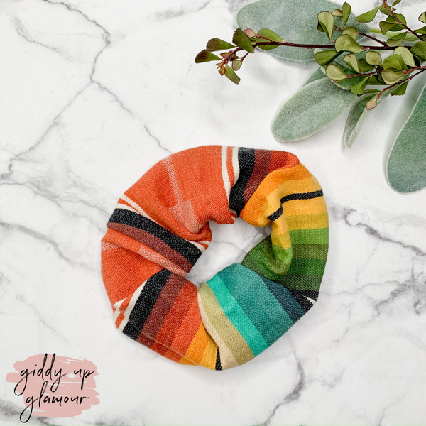 Handmade in Texas | Playa Serape Scrunchie in Rust Orange