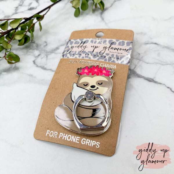 Floral Sleepy Sloth Phone Ring
