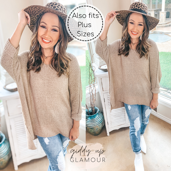 With All My Heart Oversized Sweater in Taupe