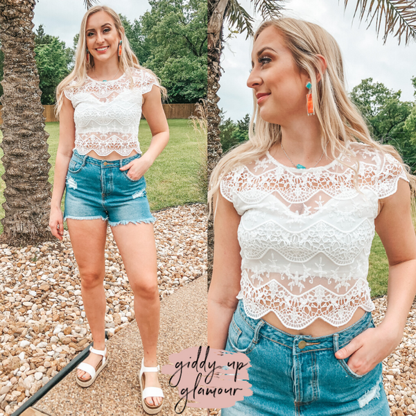 Catching Hope Floral Crocheted Crop Top in White