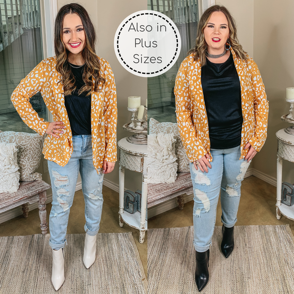 Out Of Office Leopard Print Open Front Blazer with Long Sleeves in Mustard Yellow
