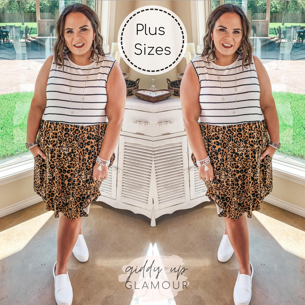 Plus Size | A Kind Gesture Striped Upper Tank Dress with Leopard Skirt