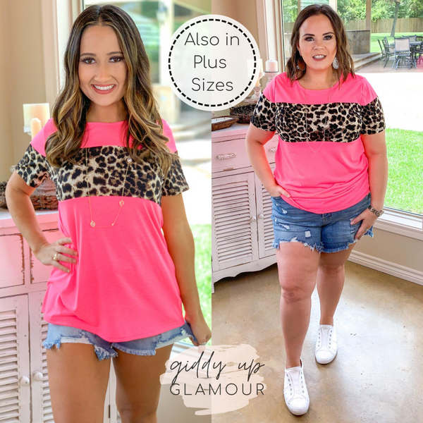 Always the Same Thing Short Sleeve Top with Leopard Accents in Neon Pink