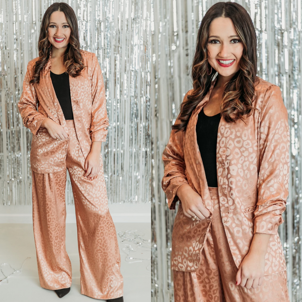Money Moves Runched Sleeve Leopard Blazer in Copper