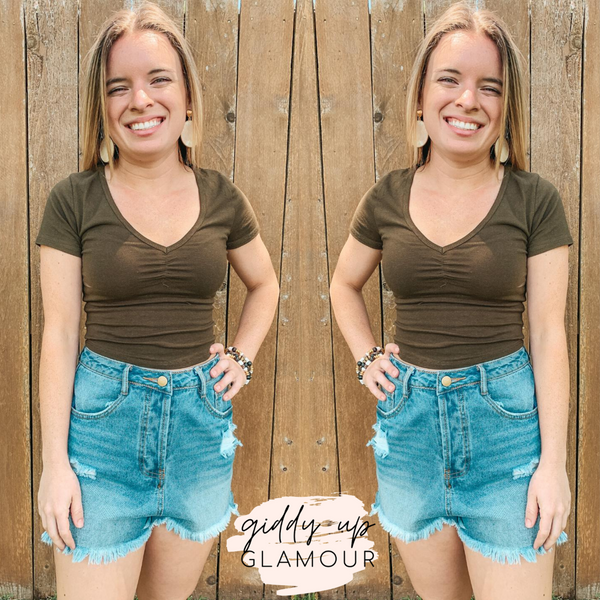 No More Drama Cinch V Neck Crop Top in Olive Green