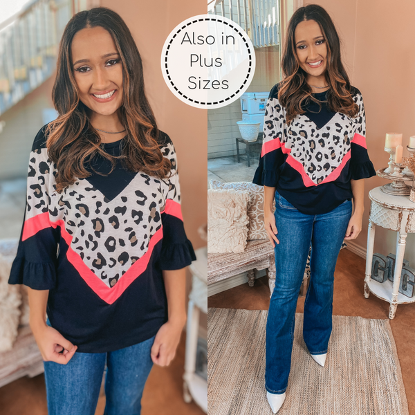 Ruffled Feelings Ruffle Sleeve Top with Hot Pink and Leopard Detailing in Black