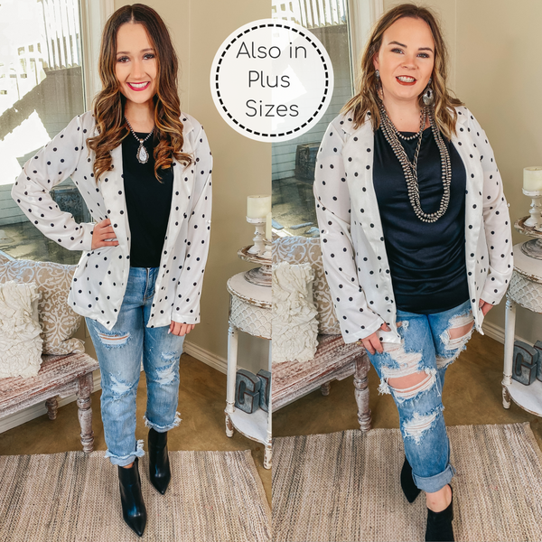 Out Of Office Polka Dot Open Front Blazer with Long Sleeves in White
