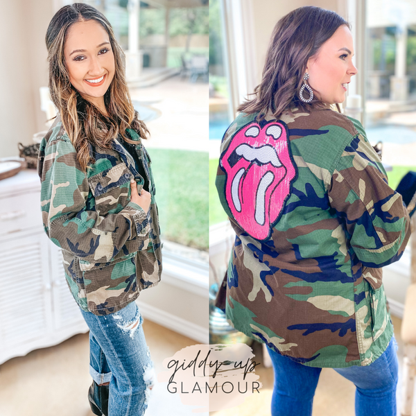 Rock N' Roll Camouflage Cargo Jacket with Sequin Tongue Graphic in Pink