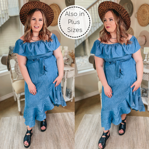 In Full Swing Off the Shoulder Denim Chambray High-Low Dress in Light Wash