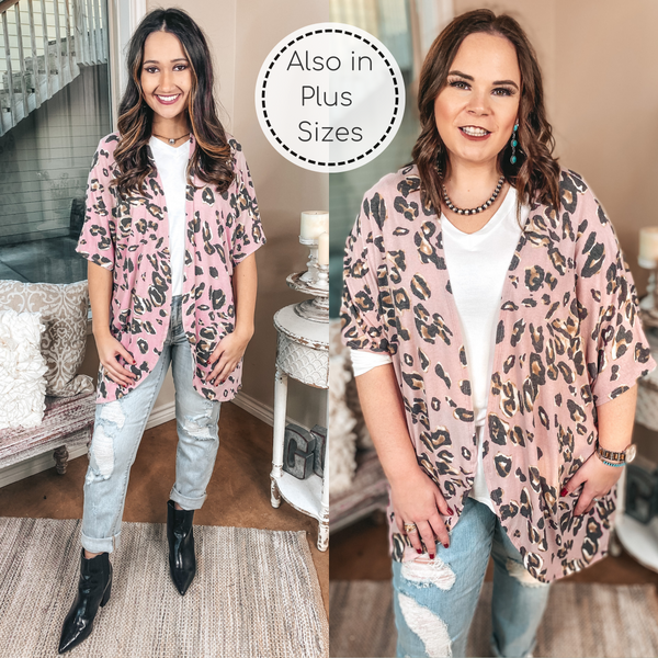 Ahead Of The Trend Leopard Short Drop Sleeve Cardigan in Blush Pink