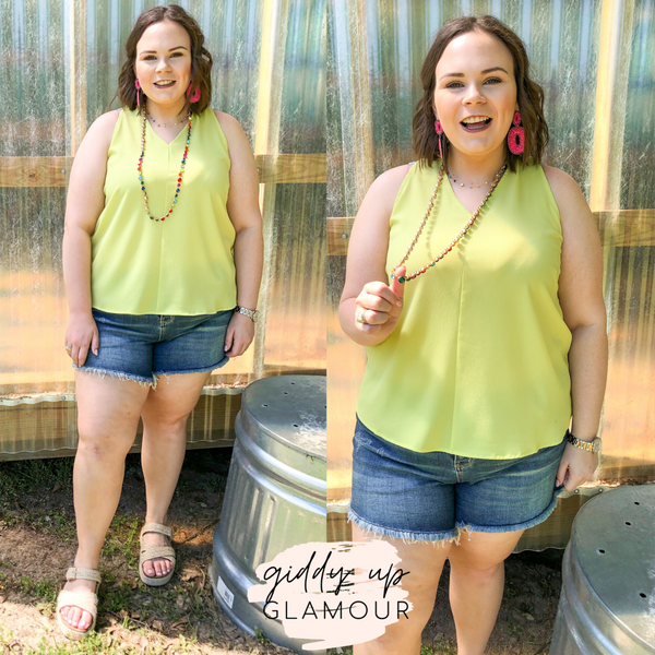 A Graceful Way V-Neck Tank Top with Ribbon in Lime Green