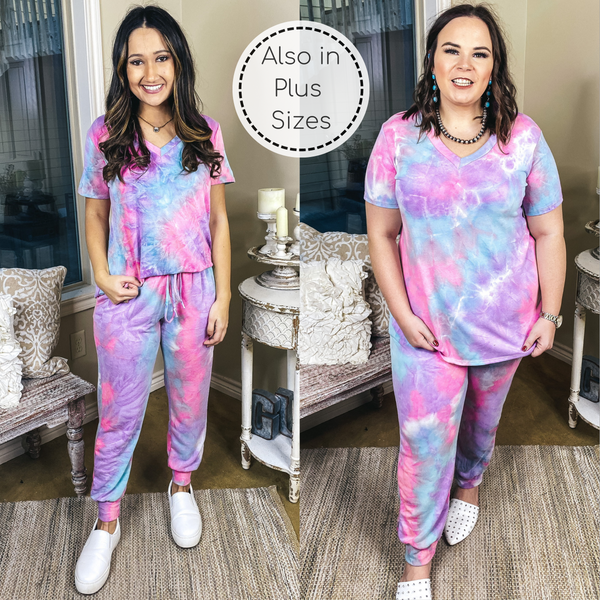 Sweet Comfort Tie Dye Drawstring Joggers with Pockets in Pink, Purple, and Turquoise