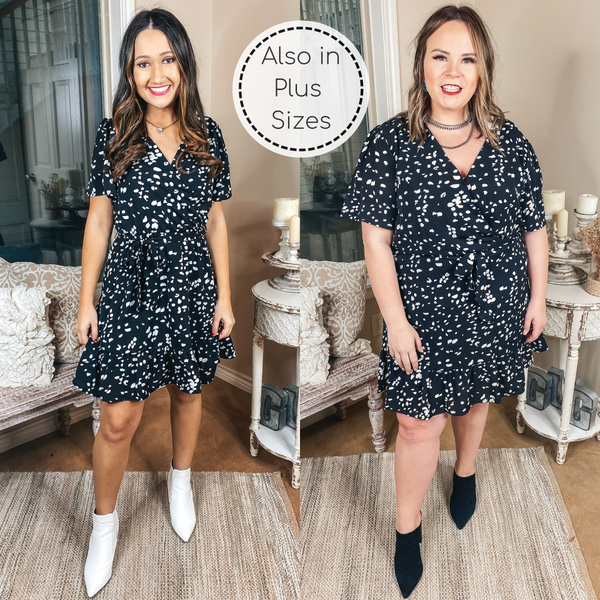 Dotted With Love Short Sleeve Dotted Wrap Dress in Black