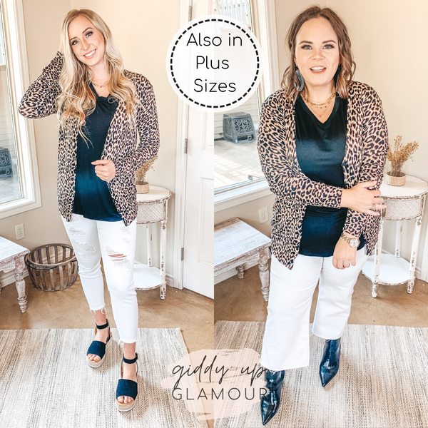Coffee Dates Button Up Sweater Cardigan in Leopard