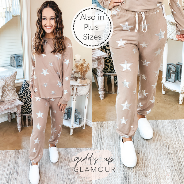 Time To Relax Drawstring Joggers with Silver Metallic Stars in Mocha Brown