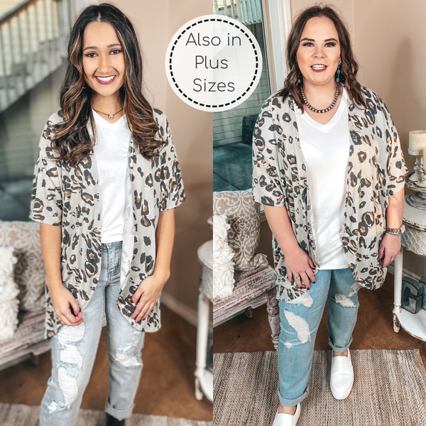 Ahead Of The Trend Leopard Short Drop Sleeve Cardigan in Grey