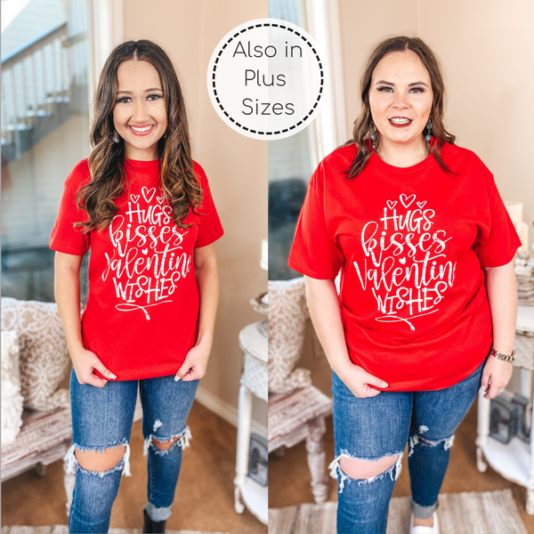 Hugs, Kisses, and Valentine Wishes Graphic Tee in Red