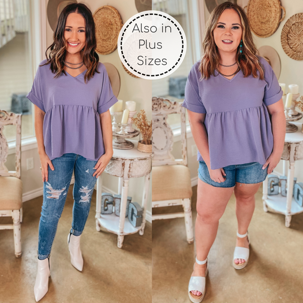Touring the City Short Sleeve V Neck Babydoll Top in Dusty Lilac