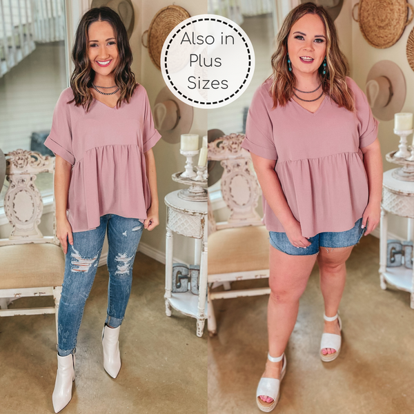 Touring the City Short Sleeve V Neck Babydoll Top in Dusty Pink