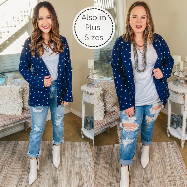 Out Of Office Polka Dot Open Front Blazer with Long Sleeves in Navy