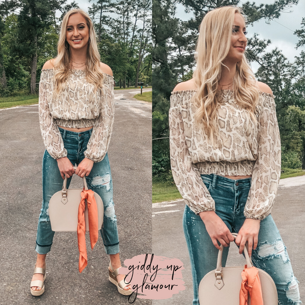 Places To Be Off The Shoulder Long Sleeve Crop Top in Snakeskin
