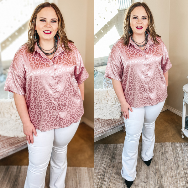 Smooth Moves Button Up Satin Leopard Top in Mauve Pink