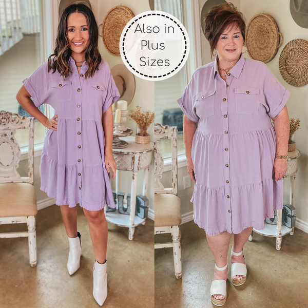 Oh Darling Ruffle Tiered Button Up Dress in Lilac