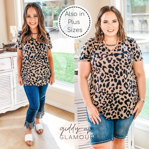 Keep Things Simple Leopard V Neck Tee Shirt in Mocha Brown