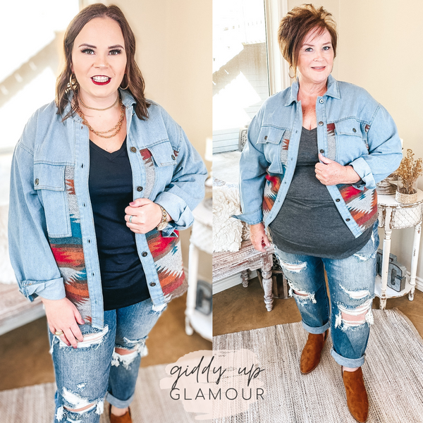 Let My Heart Run Button Up Denim Jacket with Aztec Saddle Blanket Body