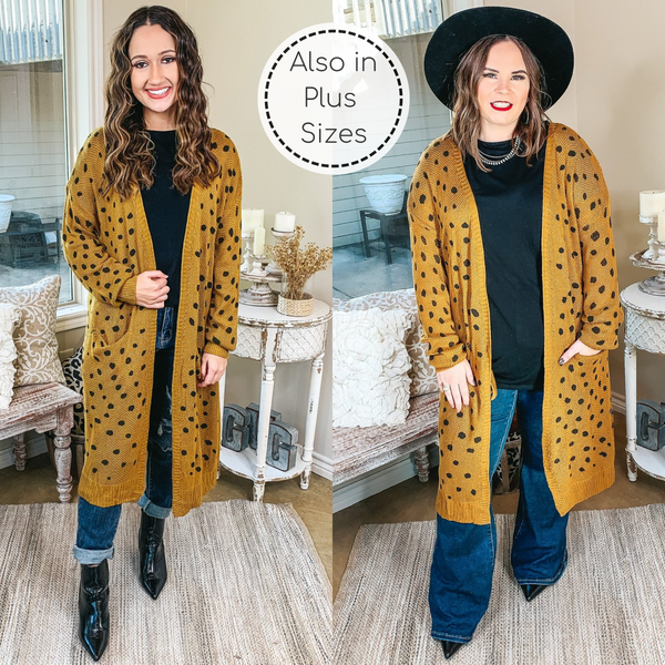Boho Lifestyle Long Sleeve Polka Dot Duster Cardigan in Mustard Yellow