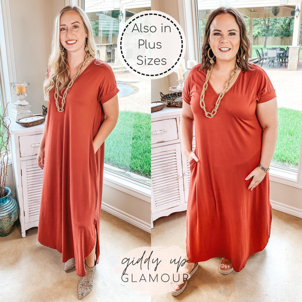 Simple Love Tee Shirt Maxi Dress in Rust Red
