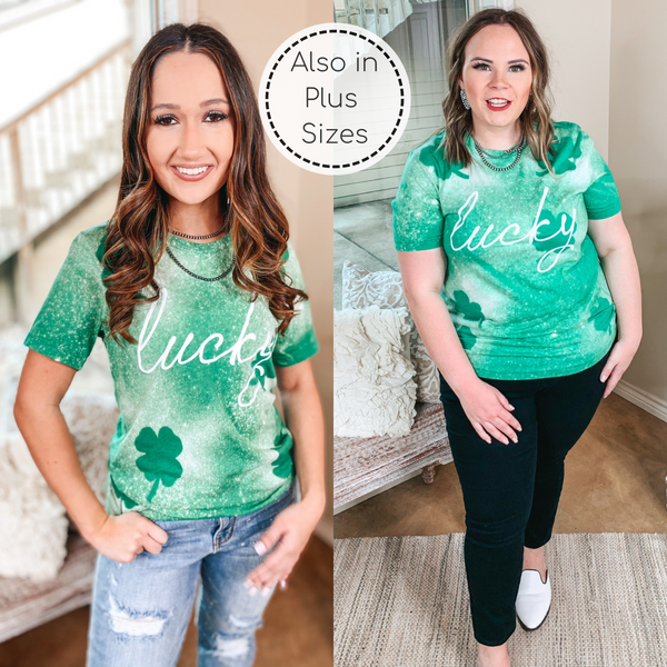Lucky Bleach Splatter Shamrock Graphic Tee in Green