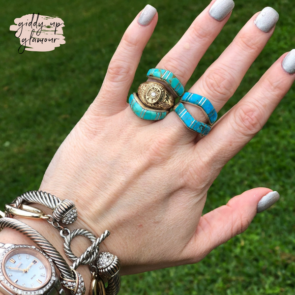 turquoise ring wrap ring guard curved ring genuine authentic sterling silver rita ybarra heritage style turquoise and co indian native american navajo zuni nations