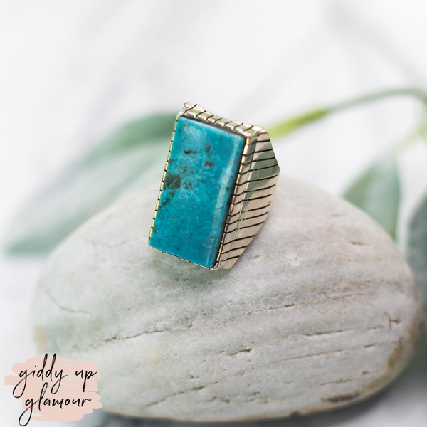 ray jack large turquoise kingman stone sterling silver ring handmade handcrafted navajo zuni nations native american kingman arizona mined ray jack heritage style turquoise and co