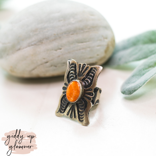 genuine handmade handcrafted sterling silver ring with kingman turquoise ring squash blossom turqouise and co heritage style shawn cayatino caynieto