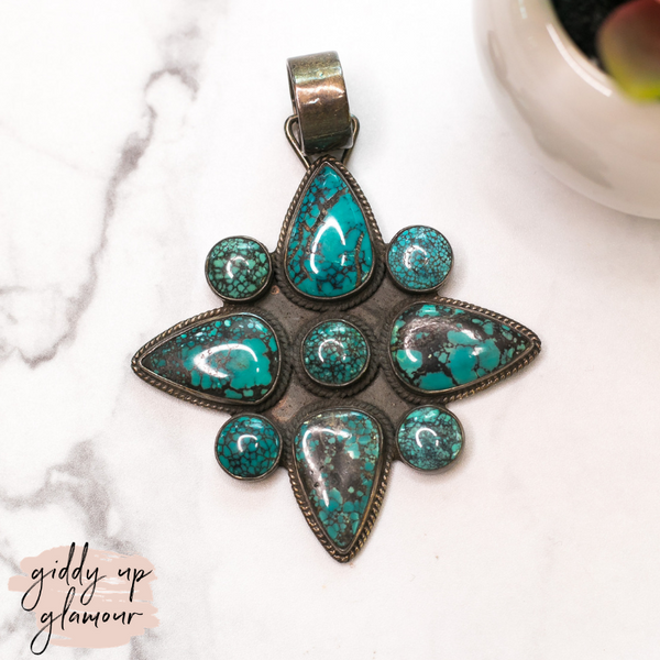 dan dodson original genuine authentic native american made turquoise cross pendant sleeping beauty royston number 8 navajo zuni nations al-zuni turquoise & co heritage style