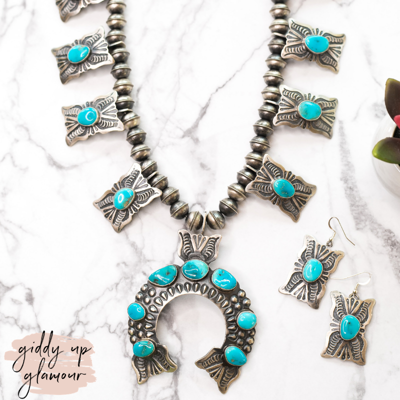genuine handmade handcrafted navajo zuni sterling silver kingman turquoise squash blossom naja necklace with matching earrings heritage style turquoise and co shawn cayatino caynieto