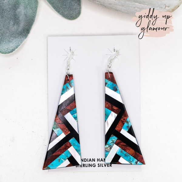 genuine authentic native american made navajo zuni turquoise red orange spiny oyster onyx geometric design slab earrings sterling silver turquoise and co heritage style
