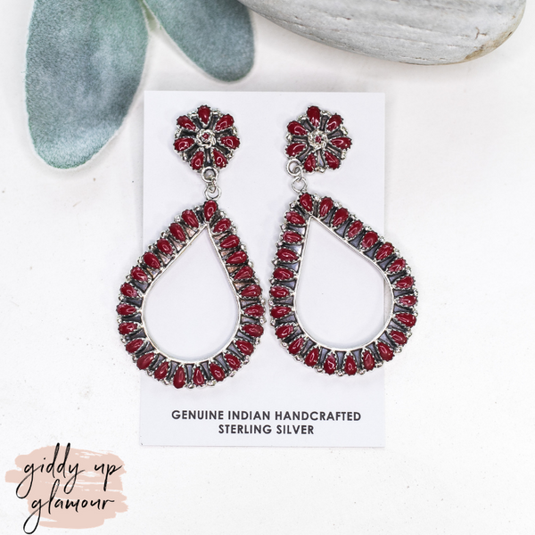 maria benten genuine handcrafted handmade indian navajo zuni nations sterling silver flower cluster earring in maroon coral dangle teardrop earrings heritage style turquoise and co turquoise and teepees