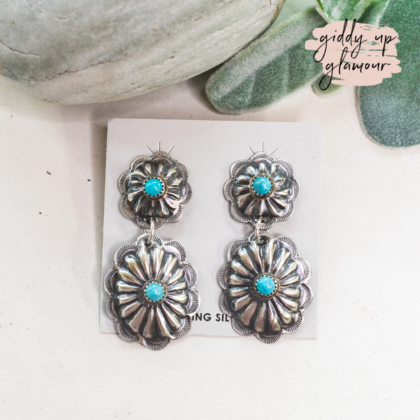Navajo | Genuine Navajo Handmade Sterling Silver Two Tier Concho Earrings with Turquoise Cabochons
