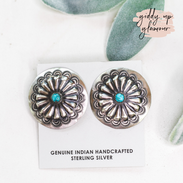 genuine authentic native american made handcrafted turquoise and sterling silver stud concho earring heritage style turquoise and co