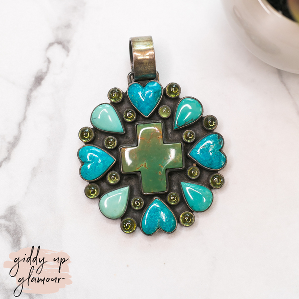 dan dodson original authentic genuine turquoise stone sleeping beauty royston number 8 cross pendant with turquoise hearts navajo zuni nations al-zuni chelsea colette turquoise and co heritage style