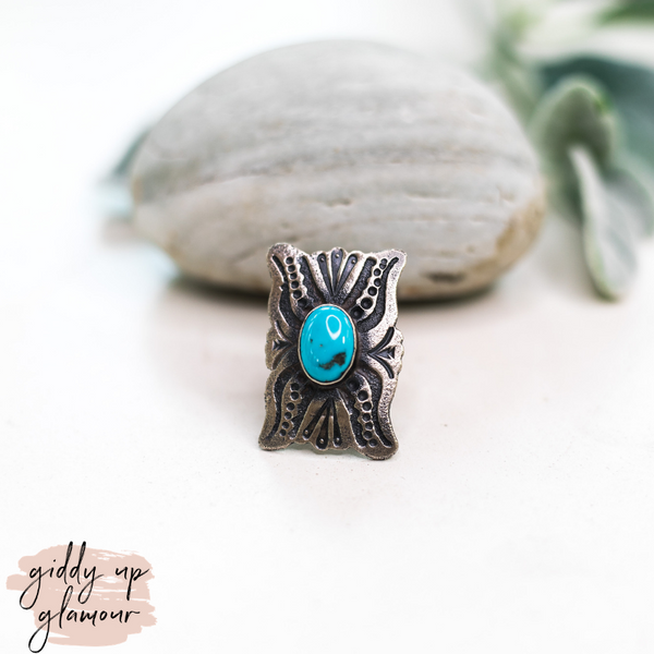 genuine handmade handcrafted sterling silver ring with kingman turquoise ring squash blossom turqouise and co heritage style shawn cayatino caynieto Cayatineto