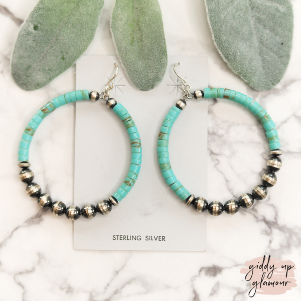 sterling silver navajo pearl and turquoise chip hoop earrings handmade handcrafted indian native american navajo zuni nations heritage style turquoise and co