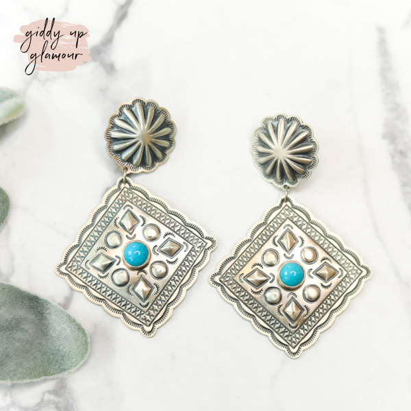Harris Joe | Genuine Native American Handmade Sterling Silver Two Tier Concho Earrings with Diamond Drop Turquoise Concho